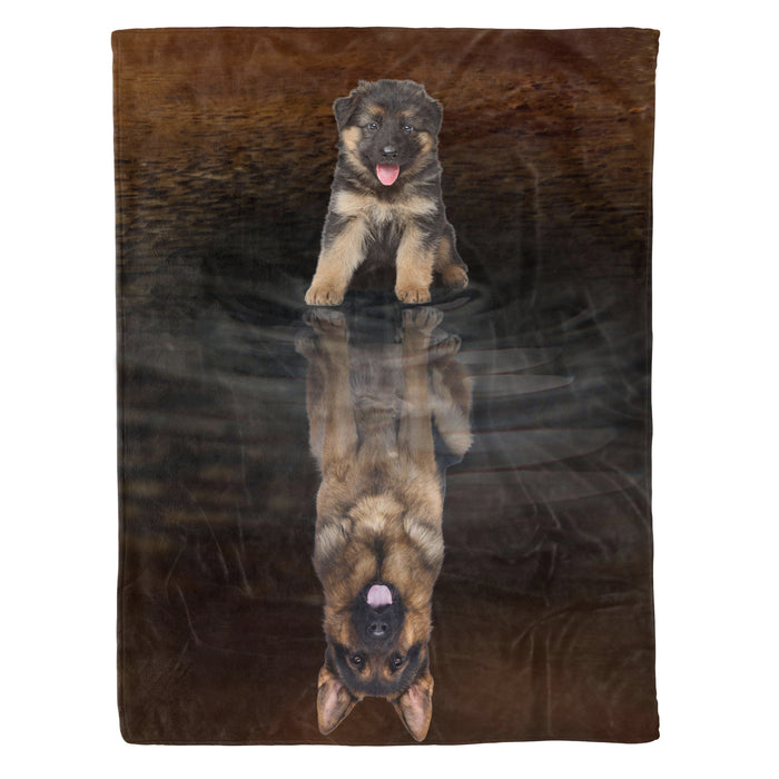 Dog & owners fleece blanket Pet remembrance gift idea for the whole family, dog lovers, dog dad mom - German Shepherd Dreaming - Dog blanket dog lover gift idea family gift - PersonalizedWitch
