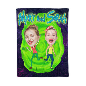 Custom Cartoon Fleece Blanket - Personalized Best Friends Blanket Gifts