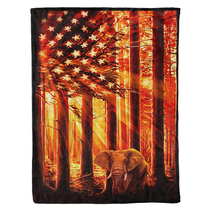 Fleece Blanket Mother's day Father's day unique gift ideas for mom & dad from daughter & son kids, meaningful birthday presents -  Elephant In The Forest Fleece Blanket - Elephant, birthday gift, animal, elephant lovers