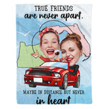 Friends In Heart - Custom fleece blanket personalized caricature family portrait unique funny gifts for best friends friendship couples father mothers day his and hers anniversary gifts birthday present