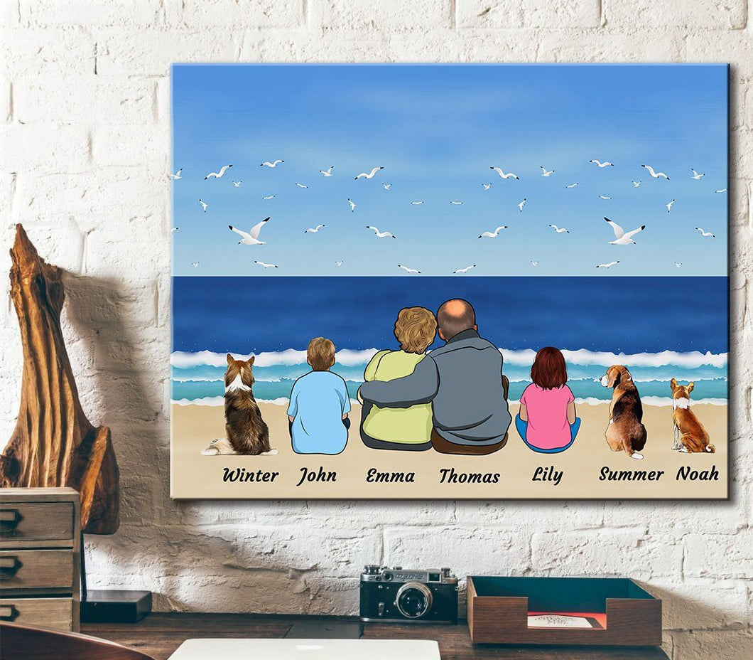 Happy Family - Personalized Canvas, unique gifts for mom and dad, Family Canvas, Dog Lovers.