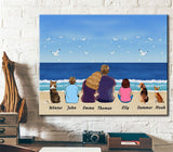 Custom personalized dog & owners canvas Pet remembrance print gift idea for the whole family - Happy Family - PersonalizedWitch