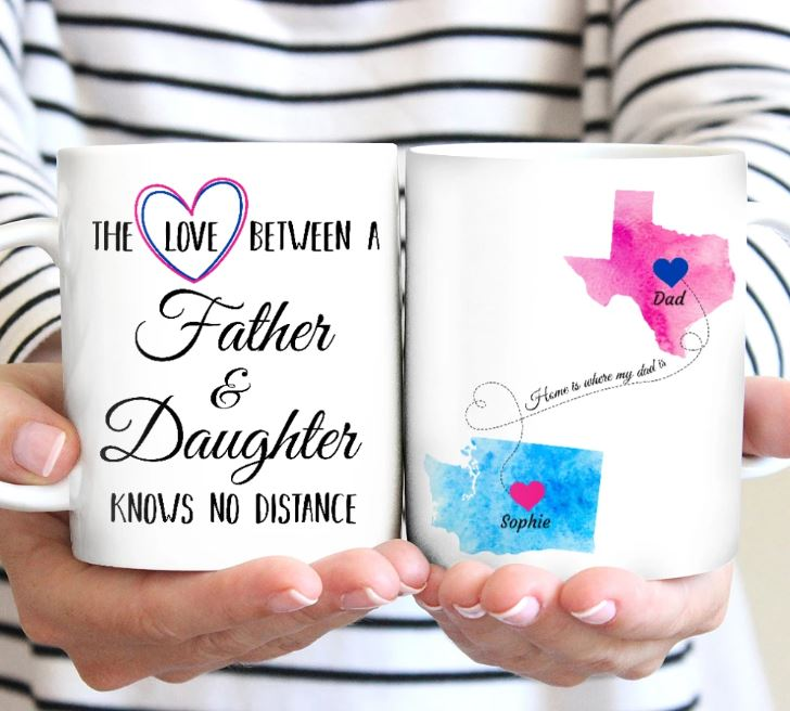 Home Is Wherever My Dad Is - Personalized father mug, unique gifts for dad, father daughter gifts, gifts for father from daughter, fathers day gifts, long distance gifts, custom state gifts