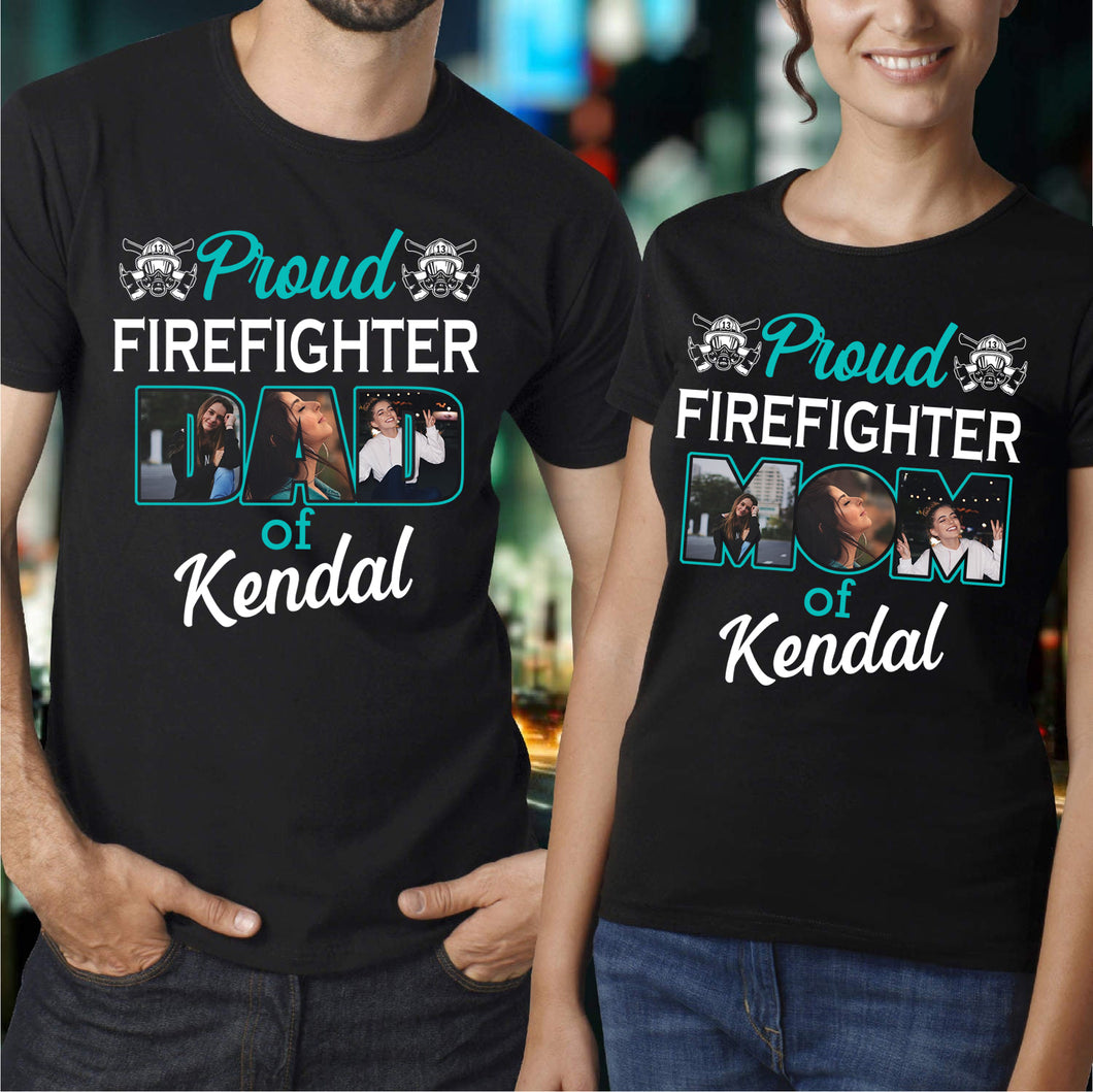 Custom personalized photo T shirts printing Mother's day gifts idea, pictures on tee, Christmas, birthday presents for mom - Proud Firefighter Mom - PersonalizedWitch