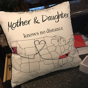 Personalized Long Distance Mom Daughter Pillowcase