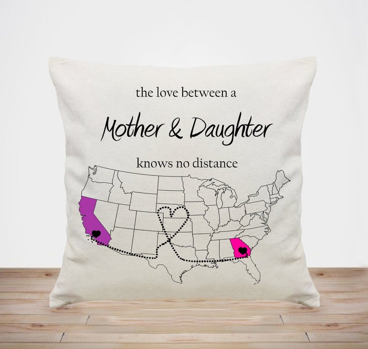 Custom personalized Pillow case Mother's day gifts idea, Christmas, birthday presents for mom & daughter - Long Distance Mom Daughter - PersonalizedWitch