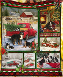 Bernese Mountain Dogs And Red Truck Fleece Blanket 11