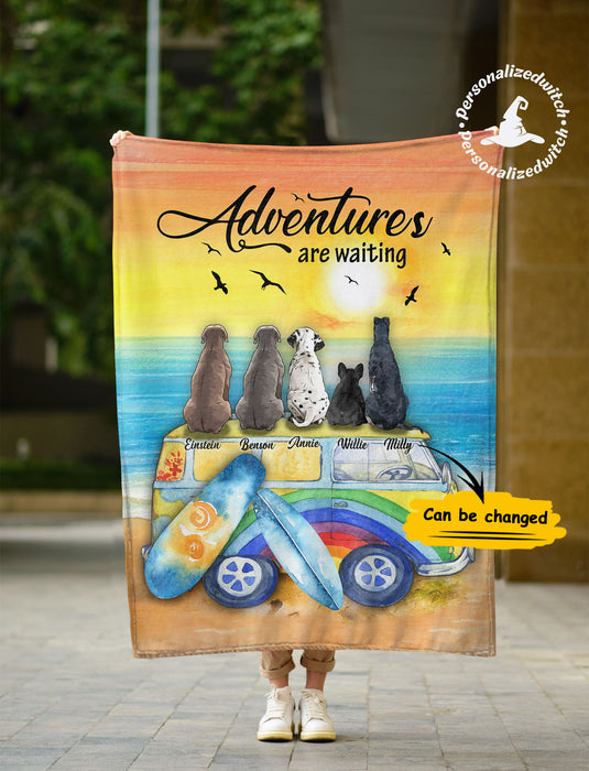 Fleece Blanket Mother's day Father's day unique gift ideas for mom & dad from daughter & son kids, meaningful birthday presents -  Custom Fleece Blanket Dogs Adventures Are Waiting
