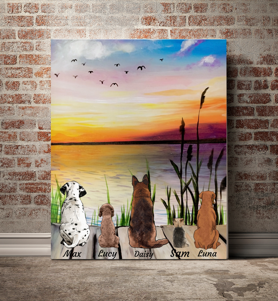 Friends - Personalized custom dog canvas print Pet canvas Mother gift idea dog lover gift