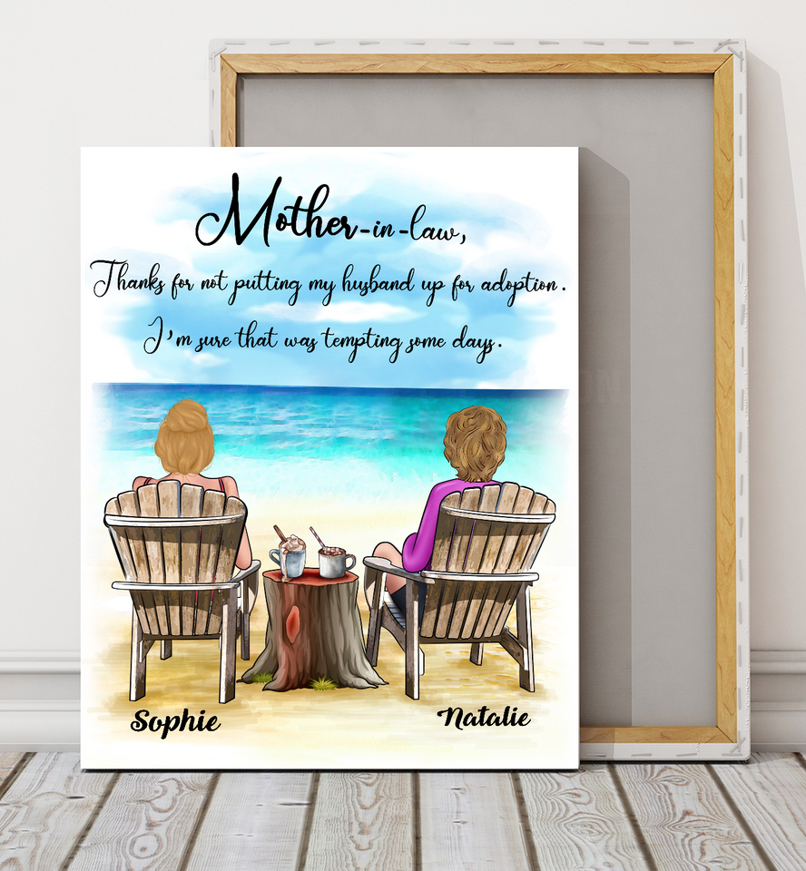 Custom personalized canvas prints wall art Mother's day gifts idea, pictures on canvas Christmas, birthday presents for mother in law - Mother-in-law, Thank You - PersonalizedWitch