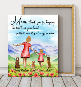 Custom personalized canvas prints wall art Mother's day gifts idea, Christmas, birthday presents for mom from daughter - Mom, Thank You - PersonalizedWitch