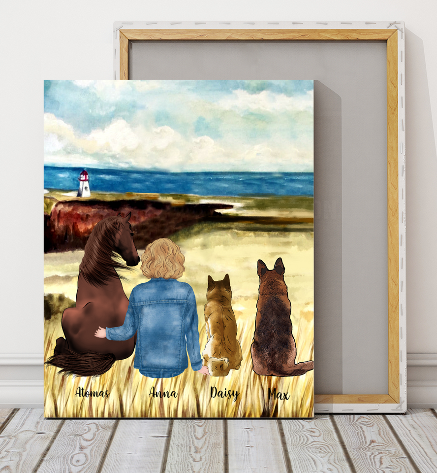 Personalized custom dog & owner canvas print gift for dog mom dad pet lovers, dog lovers - Horse and Dogs Are My Friends