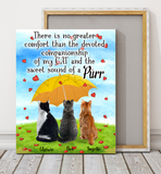 Custom personalized cat canvas Pet remembrance print gift idea for cat mom dad pet lovers - Rainy Heart Sweet Sound Of A Purr Cats - PersonalizedWitch
