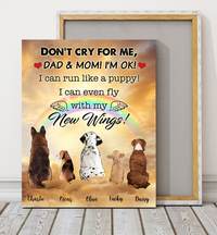 Custom personalized dog memorial canvas Pet remembrance print gift idea for dog mom dad pet lovers - Dogs Fly With New Wings Dad And Mom Version - PersonalizedWitch