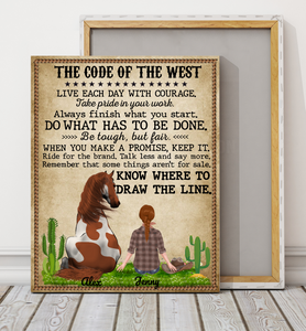The Code Of The West - Personalized Mother's day gifts ideas horse owners presents pet lovers gift memory custom canvas horse lover canvas horse lover gift cowgirl cowboy gift idea