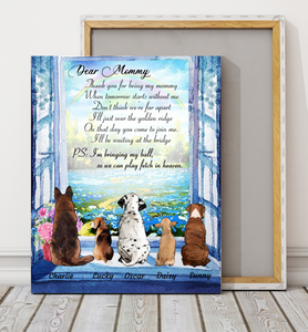 Custom personalized dog canvas Pet remembrance print gift idea for dog mom dad pet lovers - Dogs Thank You Mommy  - PersonalizedWitch
