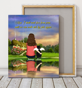 Custom personalized cat & owners canvas Pet remembrance print gift idea for the whole family - Here I shall wait, free from pain, until we can walk side by side again -  PersonalizedWitch