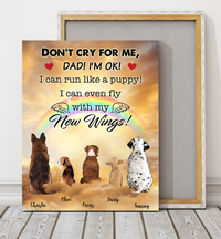Custom personalized dog memorial canvas print wall art Pet remembrance gift idea for dog mom dad pet lovers owner- Dogs Fly With New Wings Dad Version - PersonalizedWitch