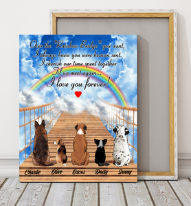 Custom personalized dog memorial canvas print wall art Pet remembrance gift idea for dog mom dad pet lovers owner- Dogs Over The Rainbow Bridge - PersonalizedWitch