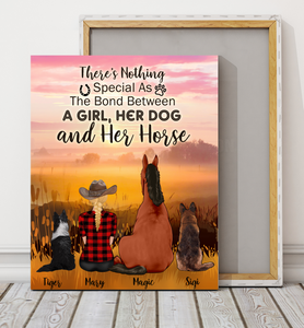 Custom personalized horse & dog owners canvas prints wall art gift for dog mom pet lovers, horse & dog lovers - Horse Dog and Girl Special Bond - PersonalizedWitch