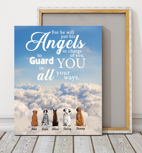 Custom personalized dog memorial canvas print wall art Pet remembrance gift idea for dog mom dad pet lovers owner - For he will command his angels concerning you to guard you in all your ways - PersonalizedWitch