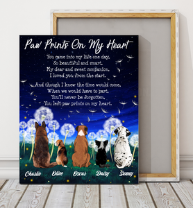 Custom personalized dog memorial canvas print wall art Pet remembrance gift idea for dog mom dad pet lovers owner- Dogs Paw Prints On My Heart - PersonalizedWitch