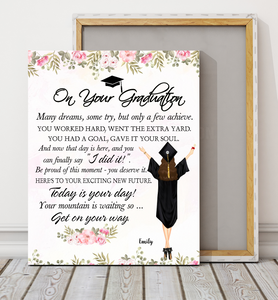 Custom personalized name graduation canvas prints wall art funny gifts for senior, family, best friends & graduated class - On Your Graduation Day - Personalizedwitch