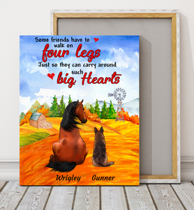 Custom personalized horse & dog owners canvas prints wall art gift for dog mom pet lovers, horse & dog lovers - Four Legs With Big Heart Friends Horse Dog - PersonalizedWitch