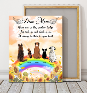 Custom personalized dog memorial canvas print wall art Pet remembrance gift idea for dog mom dad pet lovers owner- Dogs Rainbow Bridge - PersonalizedWitch