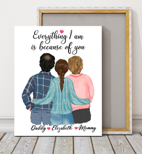 Custom personalized family canvas prints wall art Mother's day Father's day gifts idea, Christmas, birthday presents for mom dad from daughter - Love My Family - PersonalizedWitch