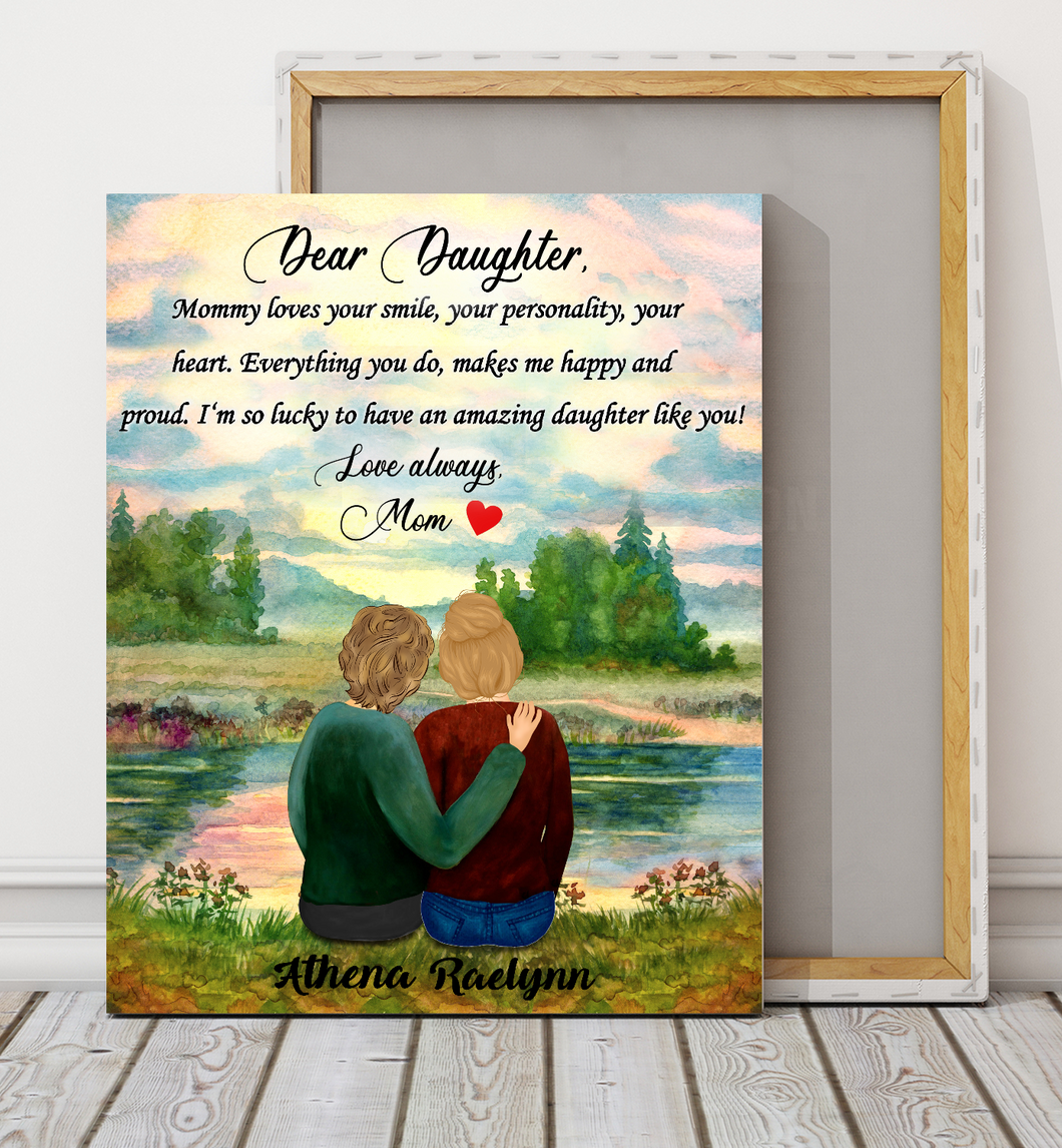 Custom personalized canvas prints wall art Mother's day gifts idea, Christmas, birthday presents for mom from daughter - An Amazing Daughter - PersonalizedWitch