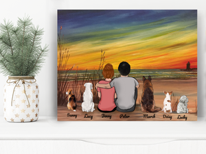 Custom personalized dog & owners couple canvas Pet remembrance print gift idea for the whole family - Beach Sunset - PersonalizedWitch