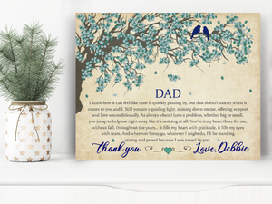Custom personalized dad canvas print art wall father's day, birthday gift for world's best dad - Thank You, Dad - PersonalizedWitch