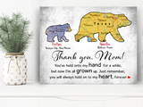 Custom personalized canvas prints wall art Mother's day gifts idea, Christmas, birthday presents for mom from daughter - Thank You, Bear Mom - PersonalizedWitch