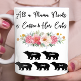 Custom personalized coffee mugs Mother's day gifts idea, Christmas, birthday presents for mom from daughter - All A Mama Needs - PersonalizedWitch