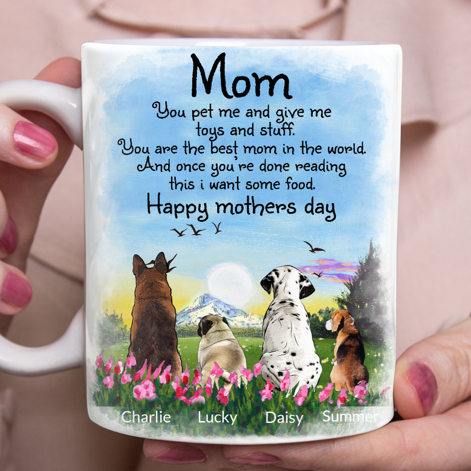 Custom personalized dog coffee mugs gift for dog dad mom pet lovers, dad lovers - Mom Happy Mother's Day - PersonalizedWitch