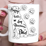 Personalized custom dog & owner coffee mugs gift for dog mom dad pet lovers, dog lovers - Day Pawsome Dad.