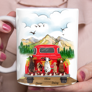 Red Truck - Personalized custom dog mug holiday mug dog lover gift idea family gift