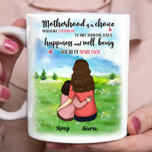 Custom personalized coffee mugs Mother's day gifts idea, Christmas, birthday presents for mom from daughter - Mom and Daughter The Meaning of Motherhood Mug - PersonalizedWitch