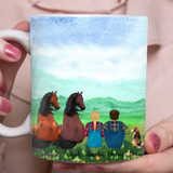 Custom personalized horse & dog owner farmer coffee mugs gift for dog mom pet lovers, horse & dog lovers,  - Couple Farmer and Friends - PersonalizedWitch