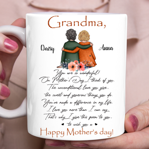 Custom personalized coffee mugs Mother's day gifts idea, Christmas, birthday presents for mom from daughter - Grandma Happy Mother's Day - PersonalizedWitch