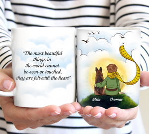 Custom personalized coffee mugs Mother's day gifts idea, Christmas, birthday presents for mom from son - Little Prince With His Dog - PersonalizedWitch