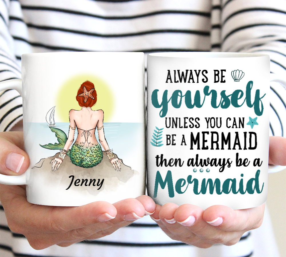 Custom personalized little mermaid coffee mugs ariel gifts for her, mermaid lover presents best Mother's day gifts idea - Be Yourself Mermaid - PersonalizedWitch