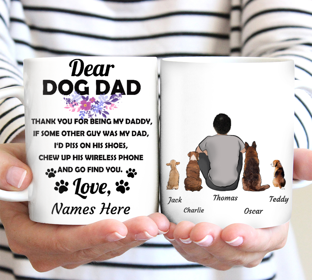 Dog Dad - Personalized custom dog mug holiday mug dog lover gift idea family gift