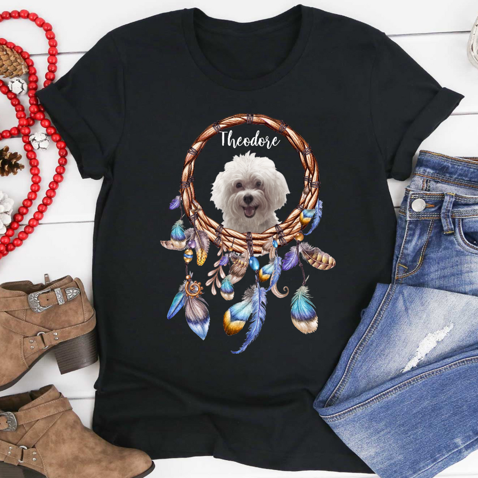 Custom Personalized Dog T Shirts Gift for dog owners lovers Mother, Father of Dogs - My Dog, My Dreamcatcher  - Personalizedwitch