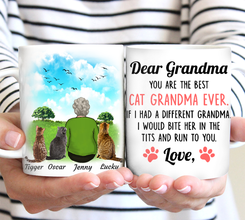 Custom personalized cat coffee mugs gift for cat owners lovers, world's best grandma gifts - The Best Cat Grandma Ever - PersonalizedWitch