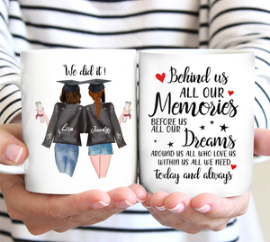 Custom personalized best friend coffee mugs Birthday gift ideas for sister, christmas friendship gifts - Best Friend Graduation Day We Did It - PersonalizedWitch