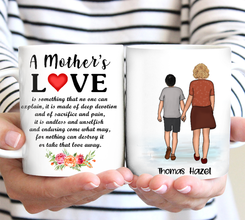 Custom personalized coffee mugs Mother's day gifts idea, Christmas, birthday presents for mom from son - A Mother's Love - PersonalizedWitch