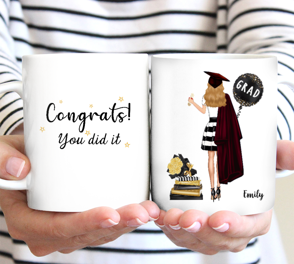 Custom personalized name graduation coffee mugs funny gifts for senior, family, best friends & graduated class - Congrats You Did It Graduation Day - Personalizedwitch