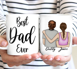 Custom personalized children name coffee mugs father's day, birthday gift for world's best dad, daddy Christmas present ideas from daughter son - World's Best Papa  - PersonalizedWitch